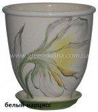 Керамический горшок для цветов «Бутон» - рисунок белый нарцисс