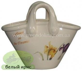 Кашпо для цветов из натуральной керамики «Корзинка»