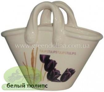 Кашпо для цветов «Корзинка» - цвет белый тюлипс