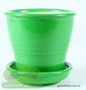 Маленький керамический горшочек зелёный