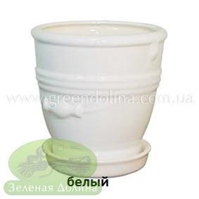 Керамический горшок для цветов «Ведёрко» белый цвет