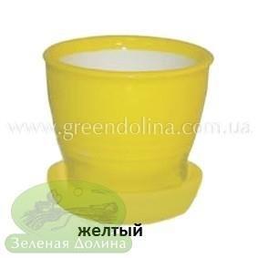 Керамический горшок для цветов «Ведёрко» жёлтого цвета