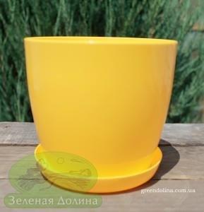Пластиковые вазоны для цветов «Ага» ярко-жёлтого цвета