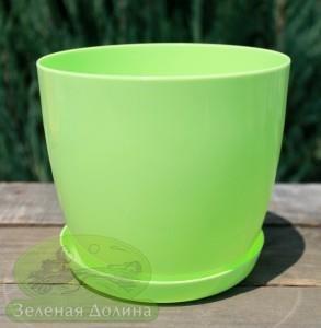Пластиковые вазоны для цветов «Ага» салатового цвета