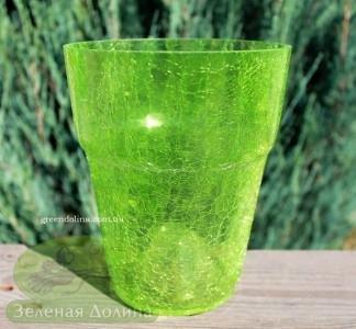 Кашпо для орхидей «Битое стекло» светло-зелёное