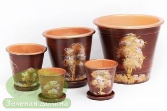 Набор глиняных горшков для цветов «Афродита» - золотые деревья