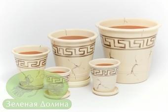 Набор глиняных горшков для цветов «Афродита» - медное версаче