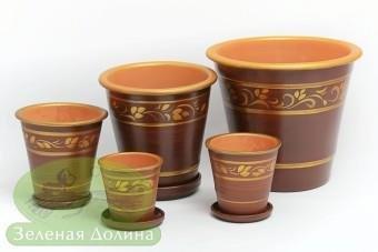Набор глиняных горшков для цветов «Афродита» - золотые листья