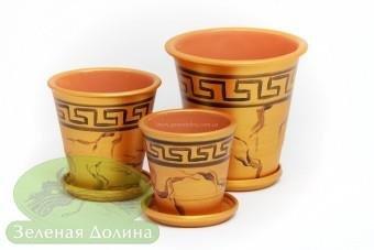 Набор глиняных горшков для цветов «Афродита» - золото версаче