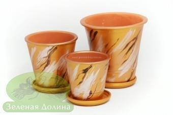 Набор глиняных горшков для цветов «Афродита» - медные ветки