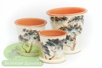 Набор глиняных горшков для цветов «Афродита» - молочные деревья