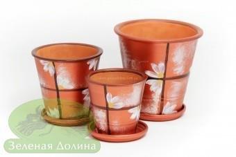 Набор глиняных горшков для цветов «Афродита» - медные ромашки