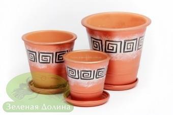 Набор глиняных горшков для цветов «Афродита» - медный лабиринт