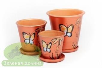 Набор глиняных горшков для цветов «Афродита» - медные бабочки