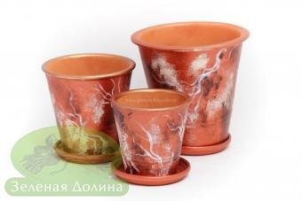 Набор глиняных горшков для цветов «Афродита» - медные молнии