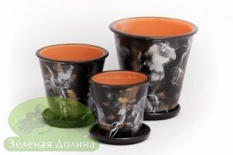 Набор глиняных горшков для цветов «Афродита» - чёрные с абстракц