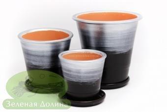 Набор глиняных горшков для цветов «Афродита» - серебряный гончар