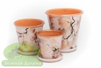 Набор глиняных горшков для цветов «Афродита» - чёрные ветки