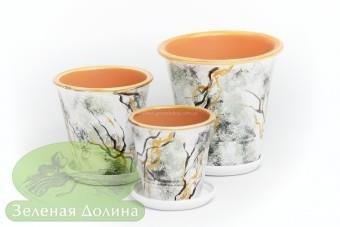 Набор глиняных горшков для цветов «Афродита» - золотые ветки
