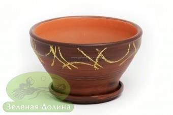 Глиняный горшочек для цветов «Пиала» древесно-золотой