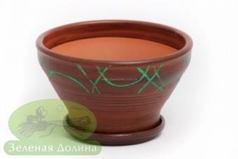 Глиняный горшочек «Пиала» с зелёной абстракцией