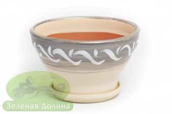 Глиняный горшочек «Пиала» молочно-серебряный