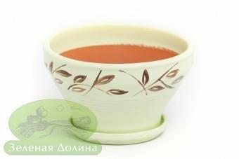 Глиняный горшочек для цветов «Пиала» с медными листиками