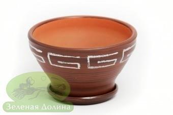 Глиняный горшочек для цветов «Пиала» с белым узором версаче