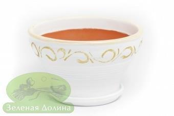 Глиняный горшочек для цветов «Пиала» с золотым рисунком