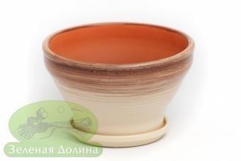 Глиняный горшочек для цветов «Пиала» со следами от гончарного кр
