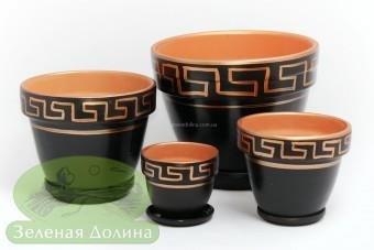 Набор цветочных керамических горшков «Спарта» - цвет золотой вер