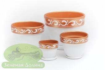 Набор цветочных керамических горшков «Спарта» - белый с медью