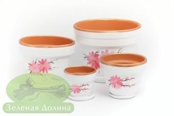 Набор цветочных керамических горшков «Спарта» - белый с розовыми