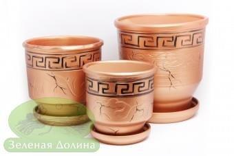 Набор глиняных цветочных горшков «Зевс»