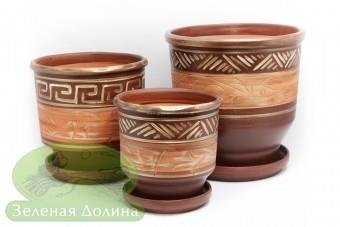 Набор керамических цветочных горшков «Зевс»