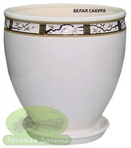 Керамический горшок для цветов «Бутон» - рисунок белая сакура