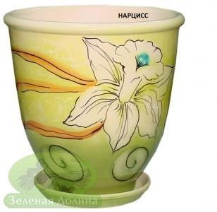 Керамический горшок для цветов «Бутон» - рисунок нарцисс