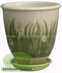 Керамический горшок для цветов «Бутон» - рисунок зелёная травка