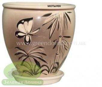 Керамический горшок для цветов «Бутон» с мотыльком