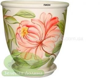 Керамический горшок для цветов «Бутон» с пионом