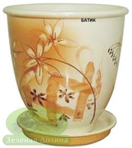 Керамический горшок для цветов «Бутон» - рисунок батик