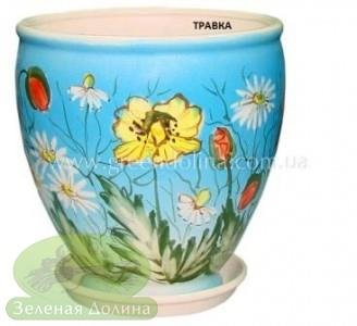Керамический горшок для цветов «Бутон» с цветной травкой