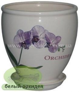 Керамический горшок для цветов «Бутон» - рисунок белая орхидея