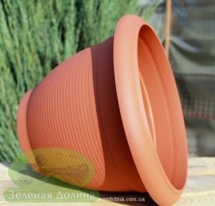 Пластиковый горшок для цветов «Бочка» вид сбоку