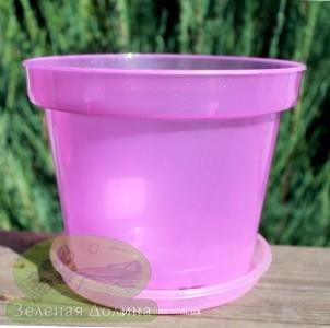 Горшок для орхидей с  подставкой светло-фиолетового цвета