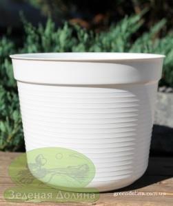 Пластиковый цветочный горшок Paska белого цвета