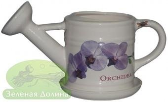 Вазон «Лейка» с блюдцем - модель белая орхидея
