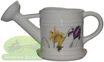 Цветочный вазон «Лейка» с блюдцем - модель белый ирис