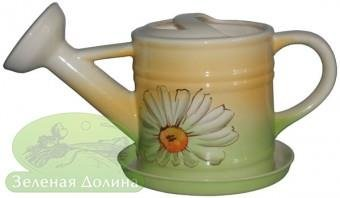 Цветочный вазон «Лейка» с блюдцем - модель ромашка