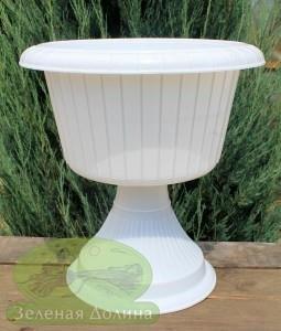 Цветочный вазон на ноге «Газон 31 см» белого цвета